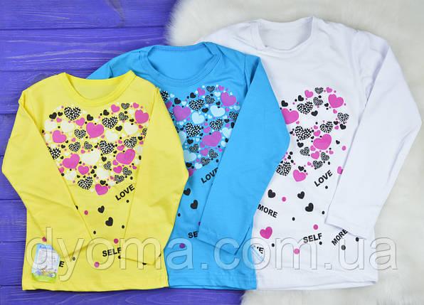 """Детская футболка с длинным рукавом """"Сердце"""" для девочек, фото 2"""