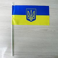 """Флажок """"Украина"""" с большим гербом / Прапорець """"Україна"""" з тризубом"""