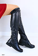 Демисезонные кожаные высокие сапоги-чулки