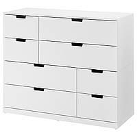 """ИКЕА """"НОРДЛИ"""" Комод с 8 ящиками, белый, 120x99 см."""