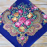 Красивый платок синего цвета для девушек (100х100см, 80%-шерсть)