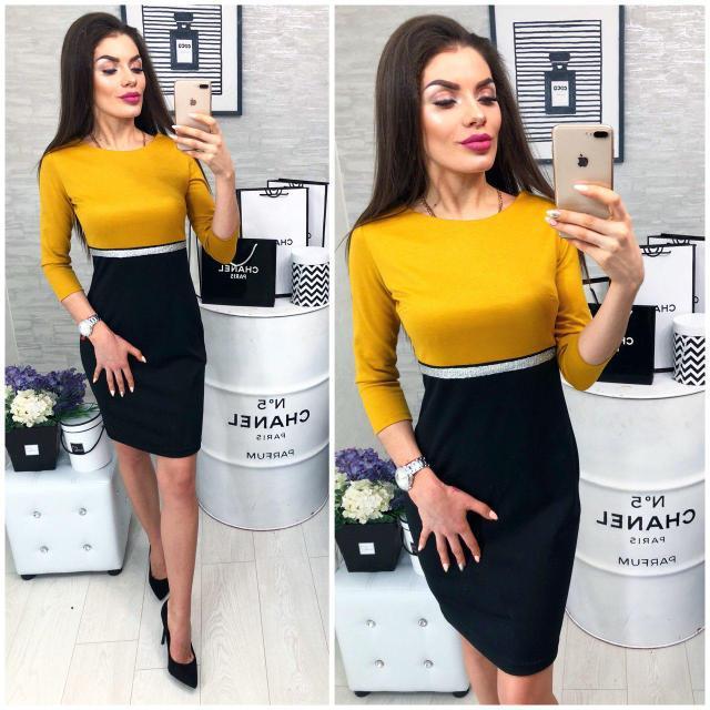 Платье женское, модель 806, горчица с черным, 42, 46 размер