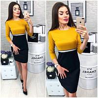 Платье женское, модель 806, горчица с черным, 42, 46 размер, фото 1