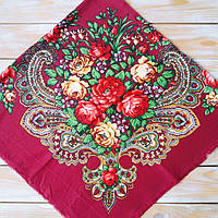 Красивый платок цвета бордо (100х100см, 80%-шерсть)