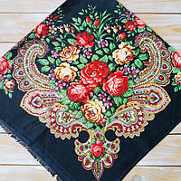 Женский платок черного цвета  (100х100см, 80%-шерсть)