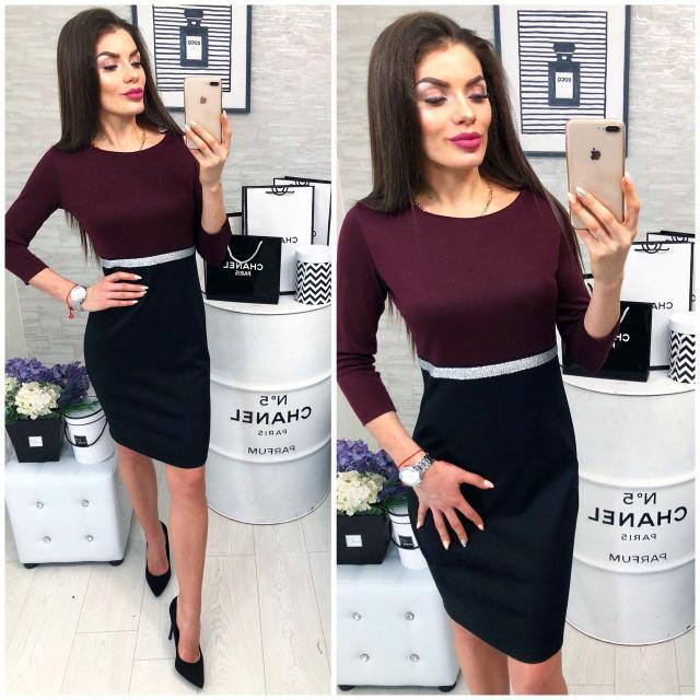Платье женское, модель 806, марсала с черным