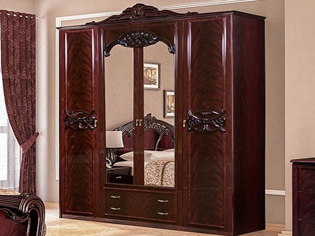 Шафа (шкаф) з ДСП/МДФ в спальню/вітальню/дитячу рубіно Олімпія 4Д Миро-Марк
