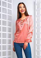 Женская шелковая блуза на завязках  (4 цвета)