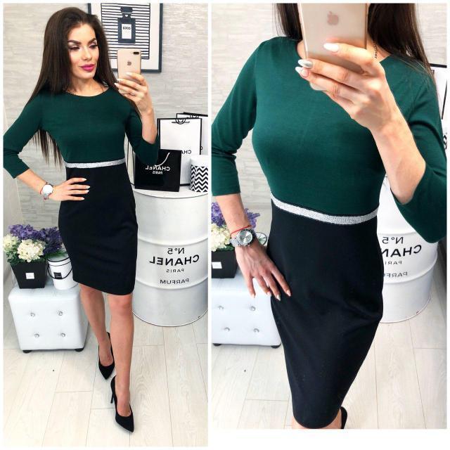Платье женское, модель 806, зеленый с черным, 42, 44, 46 размеры