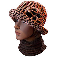 """Вязаная женская шляпка """"Цветок"""" c элементами кожи"""