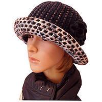 """Вязаная женская шляпа """"Цветок"""" c элементами кожи"""