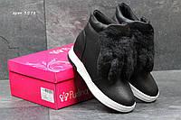 Ботинки женские Purlina Зима. Кожа Мех 100% Черные