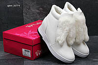 Ботинки женские Purlina Зима. Кожа Мех 100% Белые