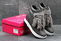 Ботинки женские Purlina Зима. Кожа Мех 100% Серые