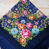 Красивый женский платок тёмно-синего цвета (100х100см, 80%-шерсть), фото 1