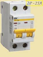 Автоматический выключатель  ИЭК 2P 25A   х-ка C BA47-29