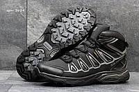 Кроссовки мужские Salomon X-Ultra Зима. Нубук Мех 100% Черный с серым