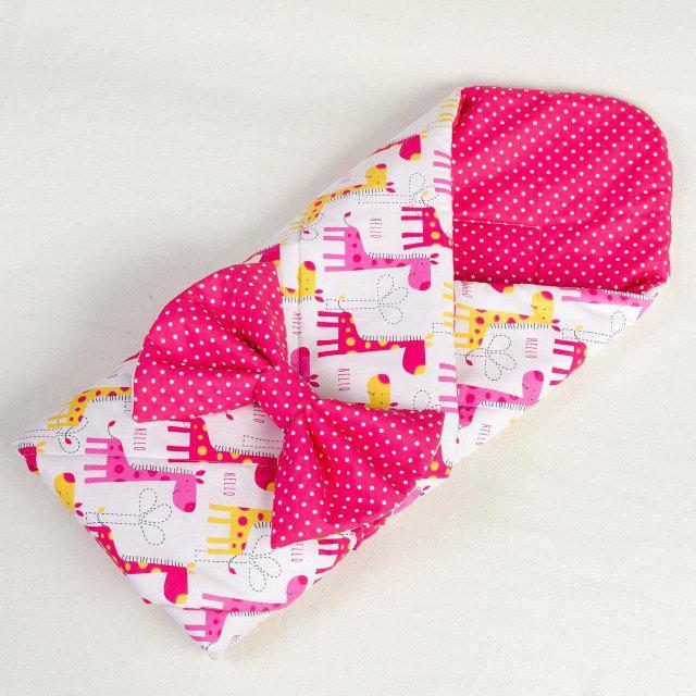 Демисезонный конверт - одеяло BabySoon Веселые жирафики 80 х 85см розовый