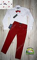 Нарядный костюм для мальчика белая рубашка Tommy Hilfiger и бордовые брюки