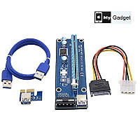 Райзер PCI-E x1 to 16x, 60 см USBCable, 4pin Molex