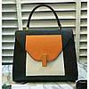 Женская классическая сумка L.D черная с белым и оранжевым