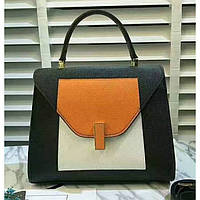 Женская классическая сумка L.D черная с белым и оранжевым, фото 1