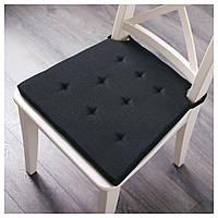 ЮСТИНА Подушка на стул, серый/черный, 35/42x40x4.0 см, 50304424, IKEA, ИКЕА, JUSTINA