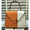 Женская классическая сумка L.D оранжевая с белым