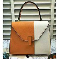 Женская классическая сумка L.D оранжевая с белым, фото 1