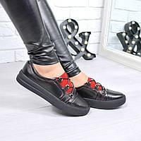 Кроссовки женские под Ecco черные КОЖА 4352, спортивная обувь