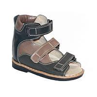 Ортопедические сандалии из натуральной кожи с жестким высоким задником с супинатором и каблуком Томаса