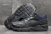 Мужские кроссовки Nike Air Huarache Зима. Кожа Мех 100% Темно синие