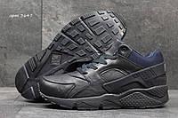 Мужские ботинки Nike Air Huarache Зима. Кожа Мех 100% Темно синие