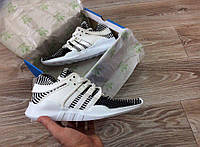 Размер:  41, 42, 43. Кроссовки мужские Adidas Equipment Running Support, бело - серые, материал - Flyknit