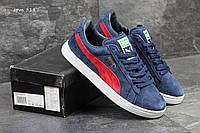 Мужские кроссовки Puma, синий с красным. замша.