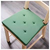 ЮСТИНА Подушка на стул, зеленый, 35/42x40x4.0 см, 60304428, IKEA, ИКЕА, JUSTINA