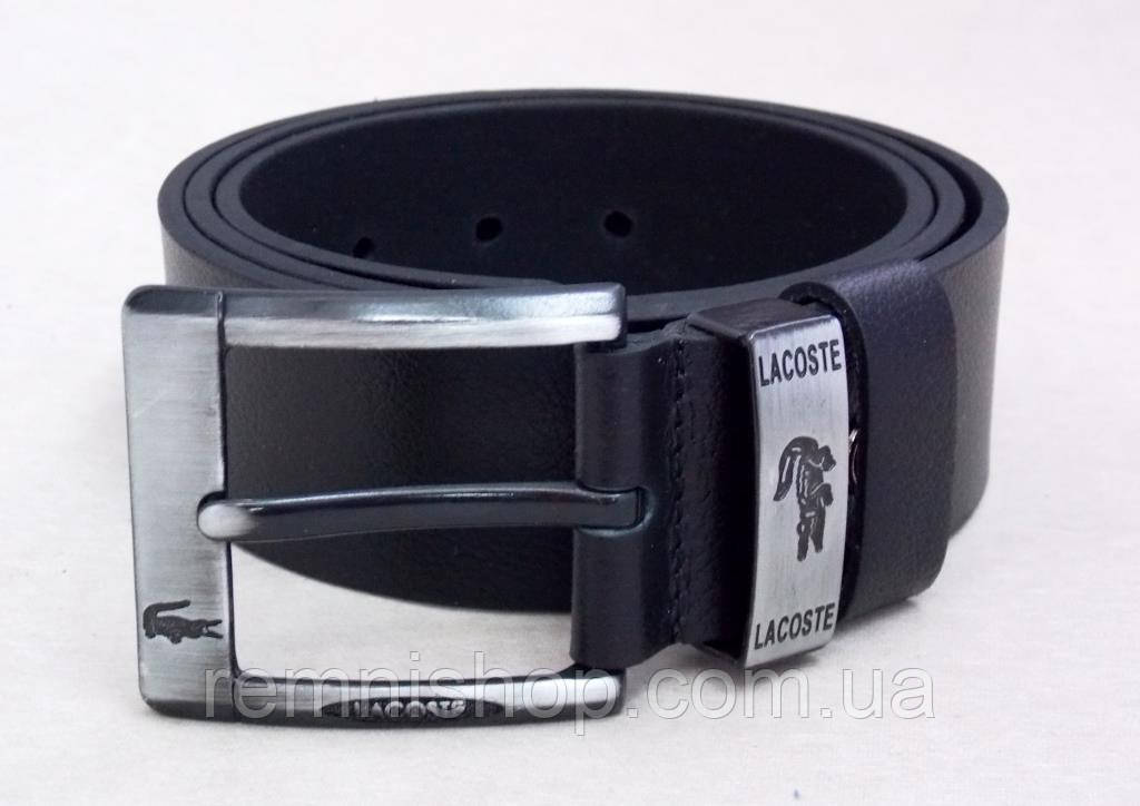 Широкий кожаный мужской ремень Lacoste джинсовый - Интернет-магазин