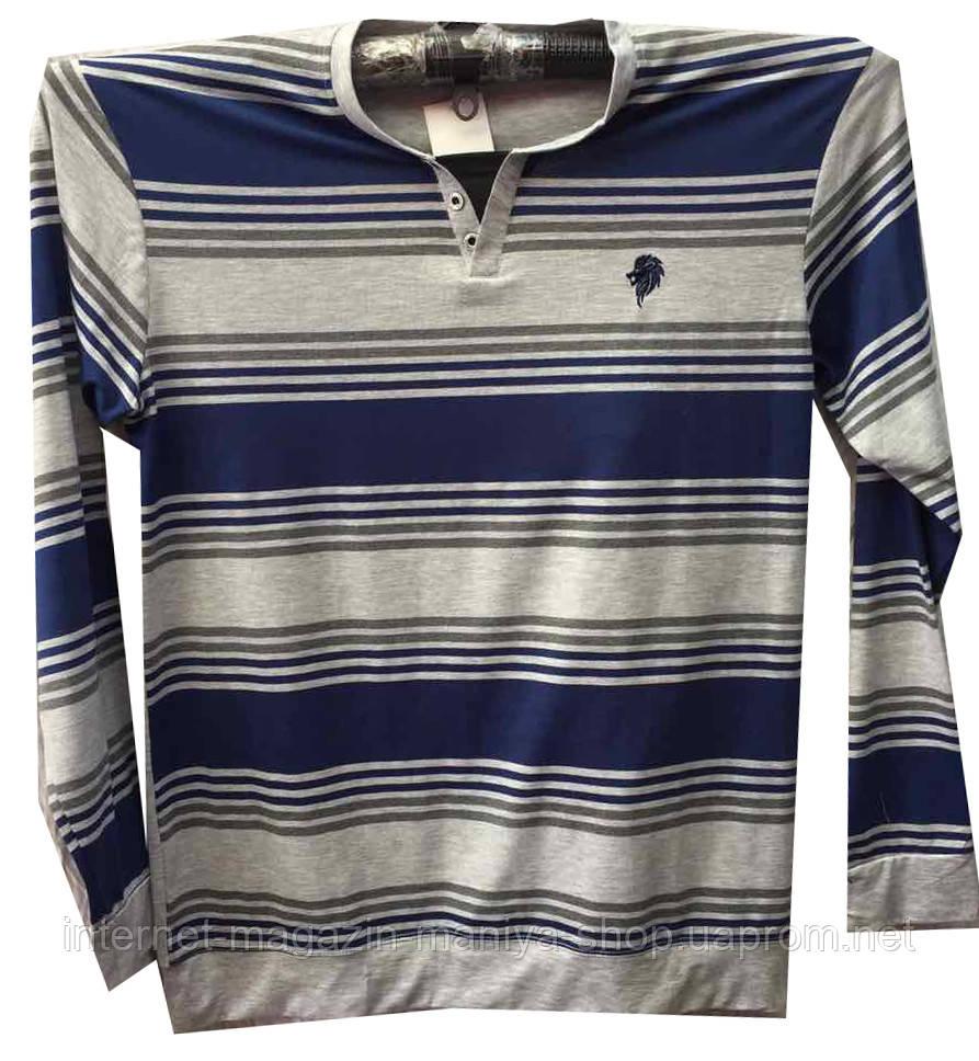 Пуловер мужской полоска пуговицы батал (деми)