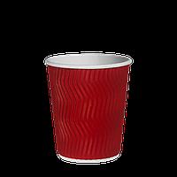 """Стакан гофрированный """"Т"""" 250мл 20шт (35/700) (КР75)Красный волна"""