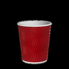 Стакан бумажный гофрированный Красный волна 250мл. 20шт/уп (1ящ/35уп/700шт) (КР75)
