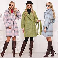 Женское демисезонное прямое пальто с поясом из шерсти