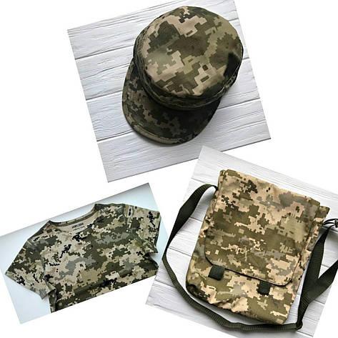 Комплект футболка сумка кепка камуфляж Пиксель, фото 2
