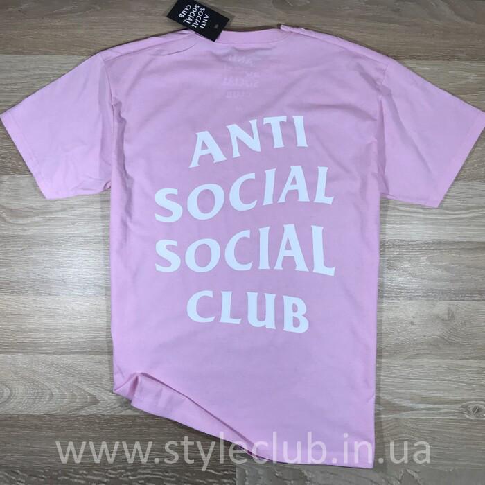 Футболка Anti Social social club чоловіча рожева. Живі фото