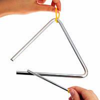 Металл музыкальный треугольник и колотушки ударный инструмент серебро музыка игрушка 6 15см