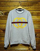 Мужской свитшот\кофта Gucci Bootleg Sweatshirt Grey/Yellow (Реплика AAA+)