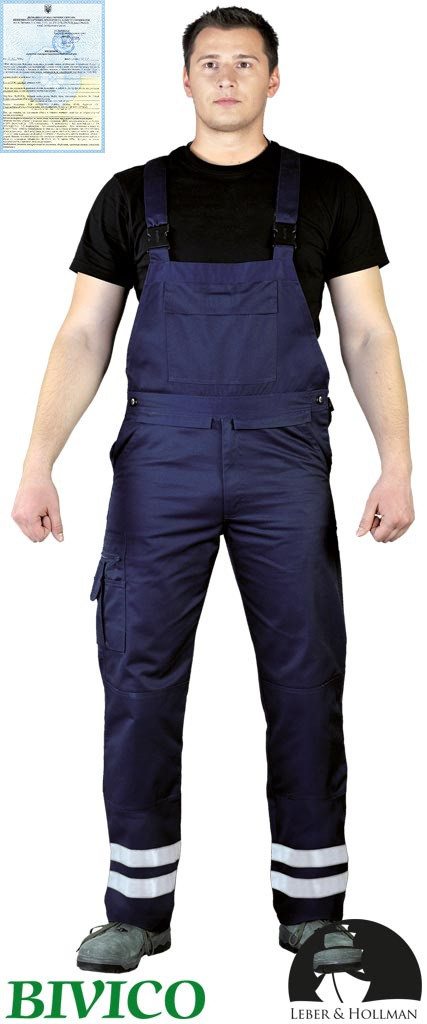 Захисні штани на лямках з двома світловідбиваючими смугами Vizlite LH-BISTER_X G