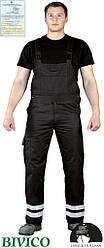 Защитные брюки на лямках с двумя светоотражающими полосами Vizlite LH-BISTER_X B