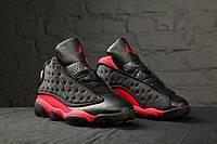 "Кроссовки мужские Nike Air Jordan 13 ""Black/Red/White"", материал - текстиль+вставки из кожи"