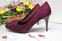 Туфли женские каблук  8см  бордо,марсал ,вишня, фото 1