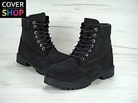 Ботинки мужские Timberland, цвет - черный, материал - нубук, утеплитель - мех